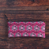 Pink Pelvis Flower pattern carry all pouch made with durable eco canvas