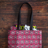 "Pink pelvis flower tote bag made from durable Eco Canvas easily carries a 15"" laptop and magazine"