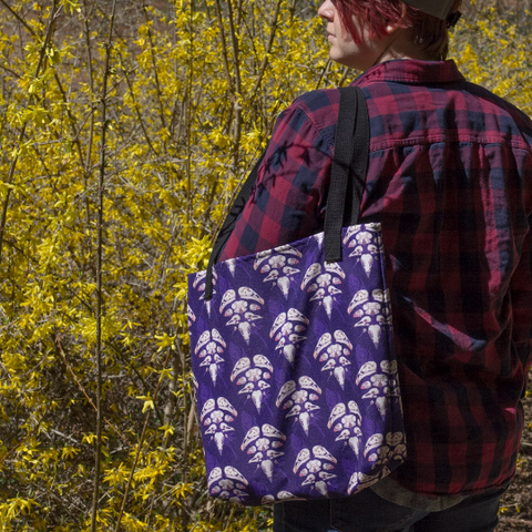 Avian Skull Patterned Purple Tote Bag