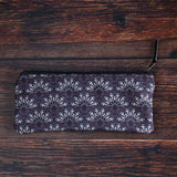 Purple carry all pouch with bones fans pattern made with durable eco canvas