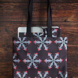 "Red foxes tote bag with skull pattern made from durable Eco Canvas easily carries a 15"" laptop"