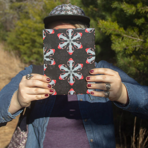 Handmade eco friendly sketchbook black red skull pattern