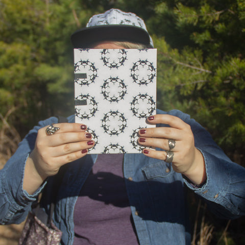 Handmade eco friendly sketchbook black white bone pattern
