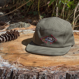 Our signature raptor hat series featuring an embroidered vulture skull