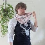 Pink Skulls and Horns Infinity Scarf