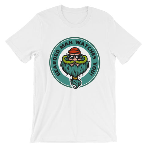 Image of Bearded Man watches you Unisex short sleeve t-shirt - CalvinMade