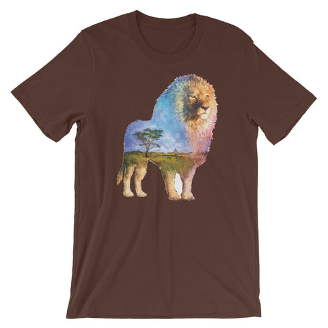 Image of Double Exposed Lion Unisex short sleeve t-shirt - CalvinMade
