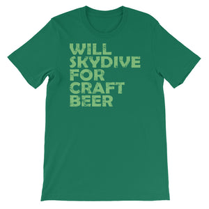 Will SkyDive for Craft Beer Unisex short sleeve t-shirt - CalvinMade