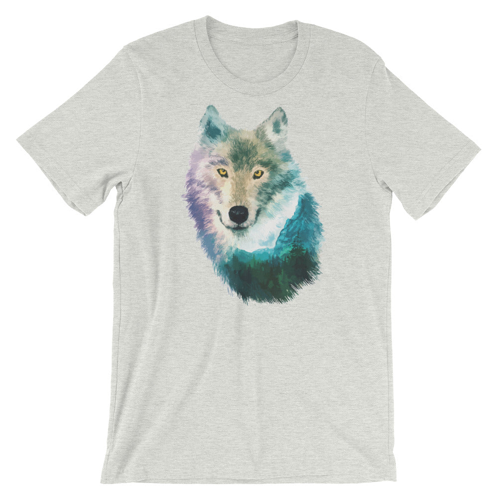 Double Exposed Wolf Unisex short sleeve t-shirt - CalvinMade