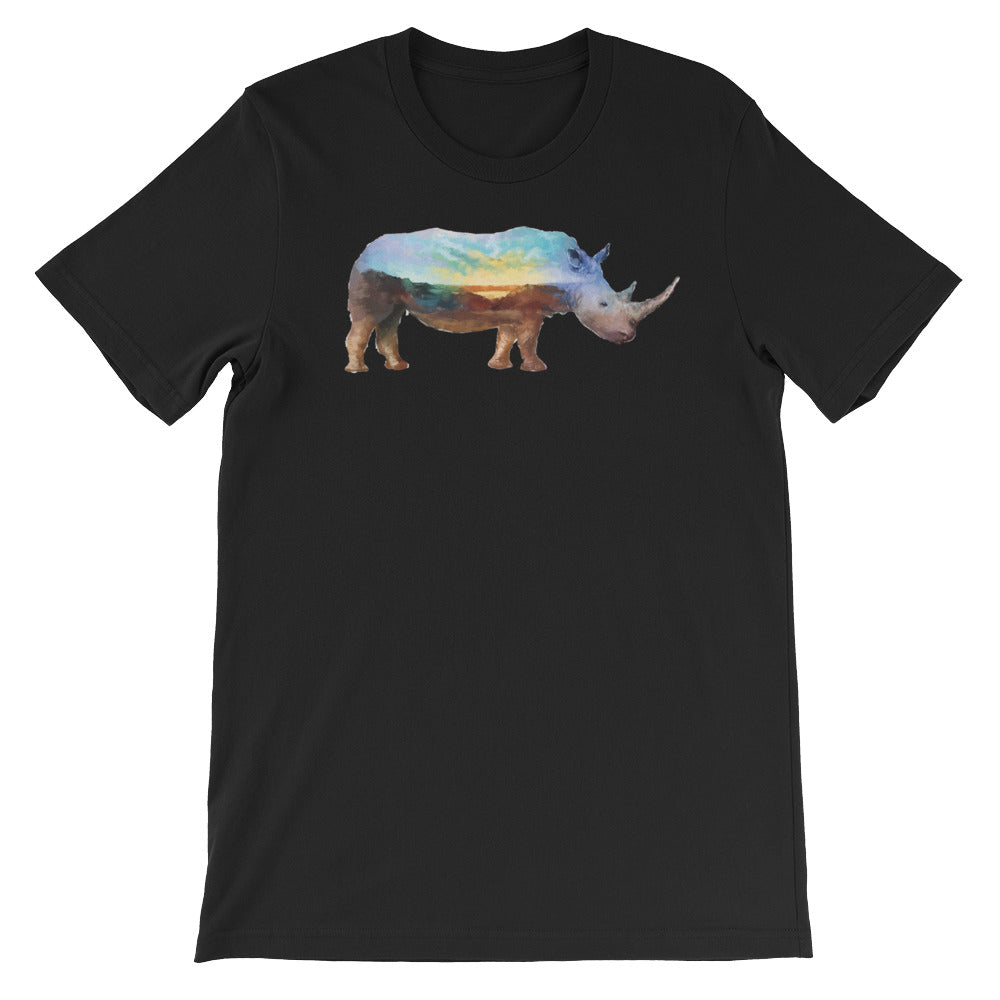 Double Exposed Rhino Unisex short sleeve t-shirt - CalvinMade