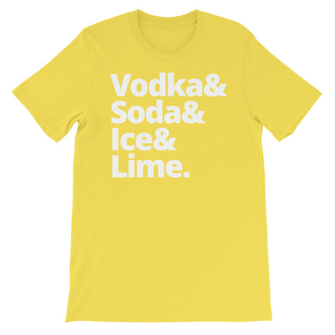 Image of Vodka & Soda & Ice & Lime Unisex short sleeve t-shirt - CalvinMade