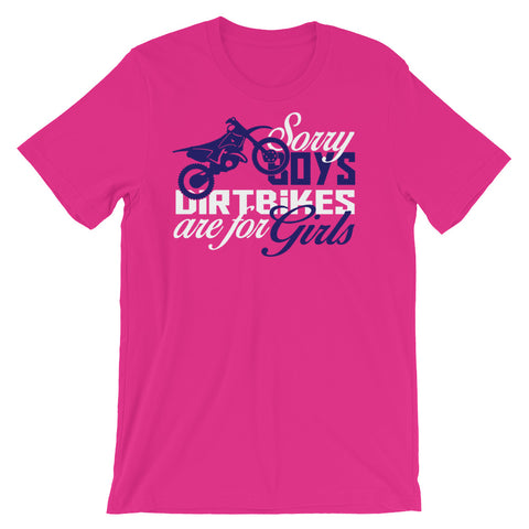 Image of Sorry Boys Dirtbikes are for Girls Unisex short sleeve t-shirt - CalvinMade