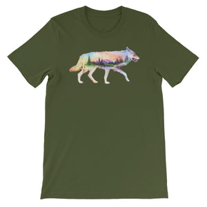 Double Exposed Coyote Unisex short sleeve t-shirt - CalvinMade