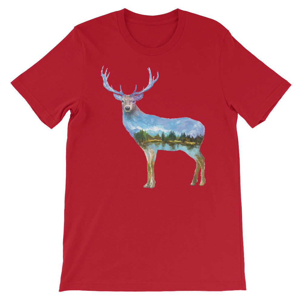 Double Exposed Deer Unisex short sleeve t-shirt - CalvinMade