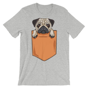 Pocket Pug Unisex short sleeve t-shirt - CalvinMade