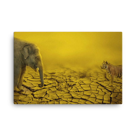 Elephant Vs Tiger Canvas