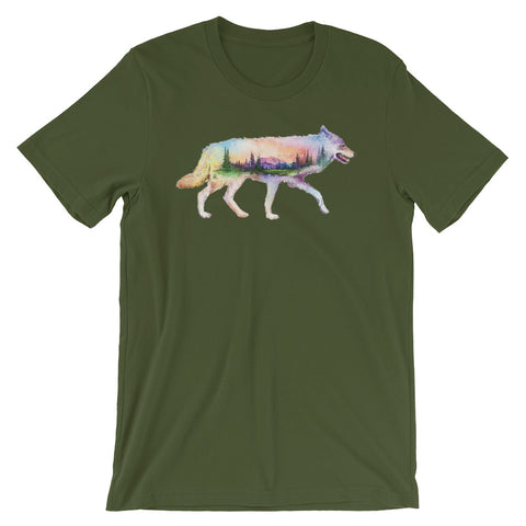 Image of Double Exposed Coyote Unisex short sleeve t-shirt - CalvinMade