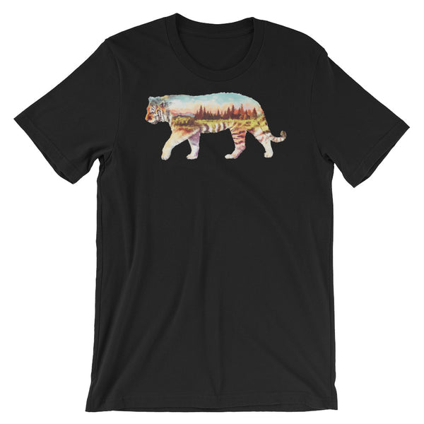 Double Exposed Tiger Unisex short sleeve t-shirt