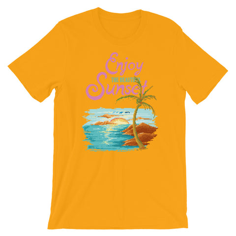 Image of Retro Enjoy the Sunset Short-Sleeve Unisex T-Shirt