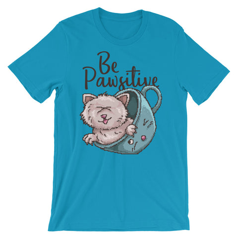 Image of Retro Be Pawsitive Short-Sleeve Unisex T-Shirt