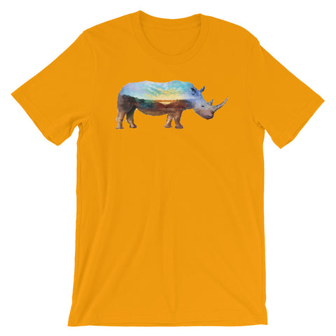 Image of Double Exposed Rhino Unisex short sleeve t-shirt - CalvinMade