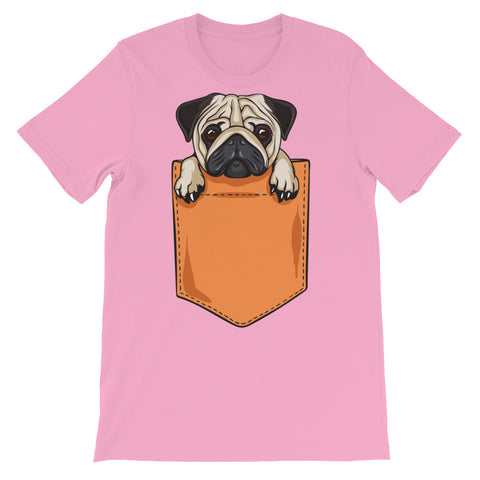 Image of Pocket Pug Unisex short sleeve t-shirt - CalvinMade