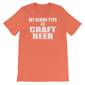 My Blood Type is Craft Beer Unisex short sleeve t-shirt - CalvinMade