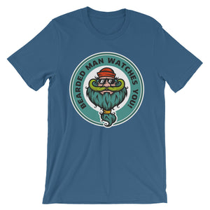 Bearded Man watches you Unisex short sleeve t-shirt - CalvinMade