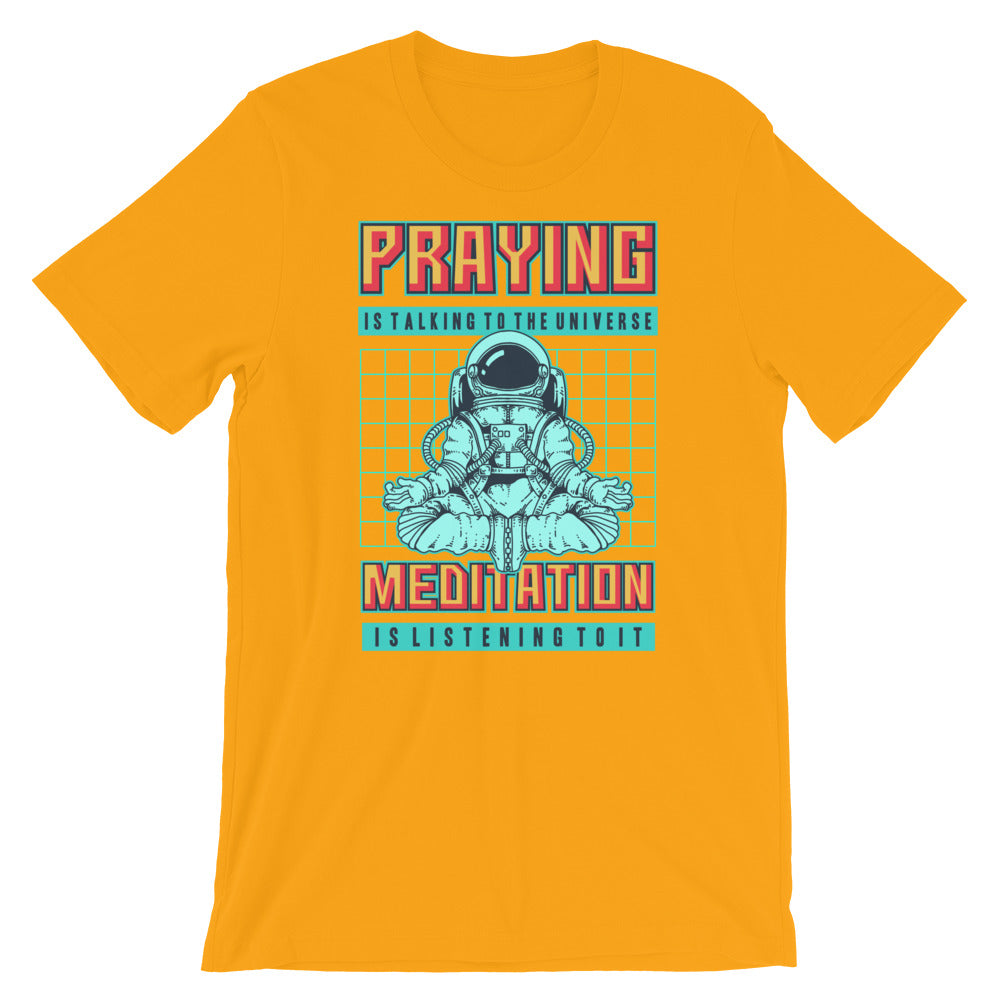 Retro Praying is talking to the universe Short-Sleeve Unisex T-Shirt