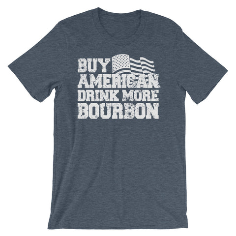 Image of Buy American Drink more Bourbon Unisex short sleeve t-shirt - CalvinMade