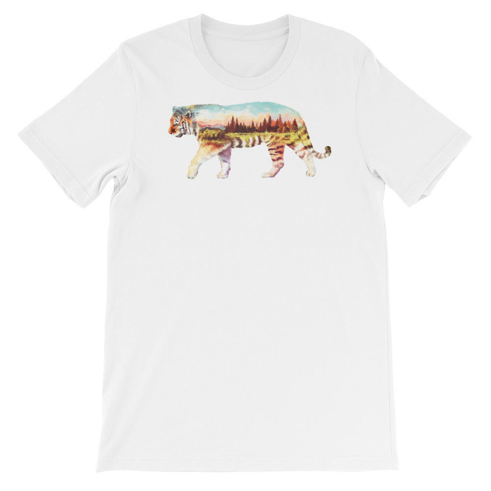 Double Exposed Tiger Unisex short sleeve t-shirt - CalvinMade