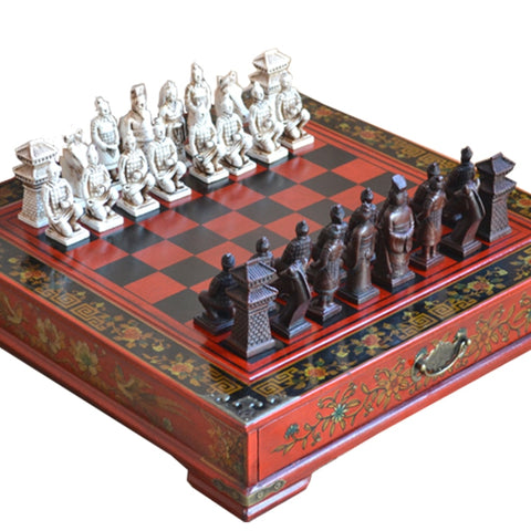 Image of Classic Chinese Terracotta Warriors Wooden Chessboard