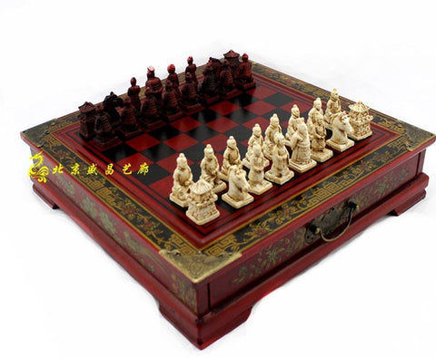 Classic Chinese Terracotta Warriors Wooden Chessboard