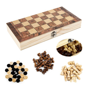 3 IN 1 Wooden Chess Set