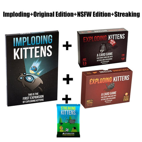 Image of Card Game Streaking Expansion Kittens Bundle Game for Explode Fun Board Game Imploding explosing for kittens