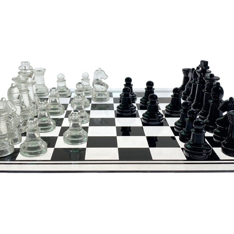 Image of Acrylic Chess Board with Glass Chess Pieces