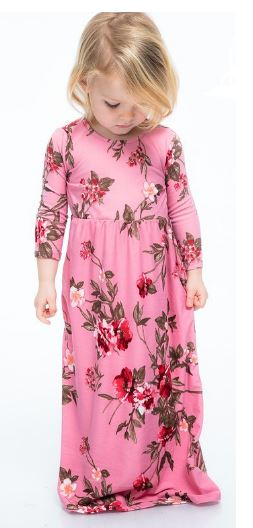 Pink Floral 3/4 Sleeve Maxi Dress