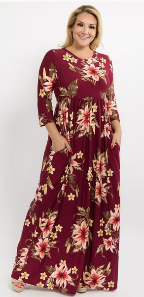 Burgundy 3/4 Sleeve Floral Maxi Dress