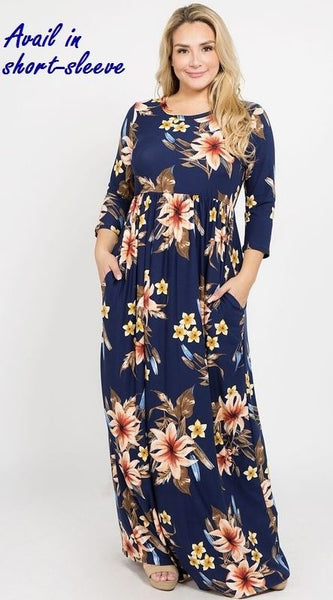 Curvy Navy Floral Short Sleeved Maxi Dress