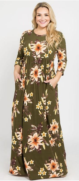 Olive Floral 3/4 Sleeve Maxi Dress