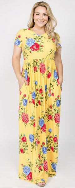 Curvy Yellow Floral Maxi Dress