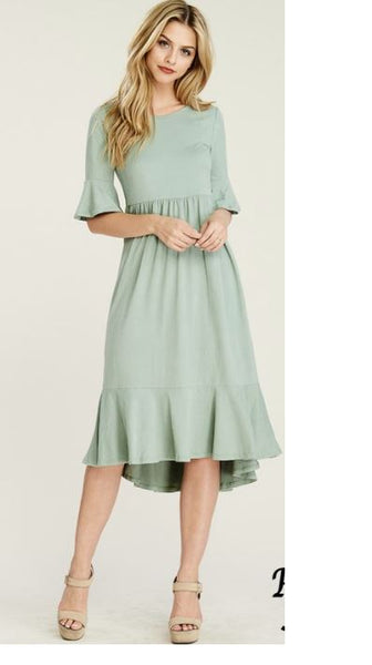 Sage Green Bell Sleeve Mermaid Cut Midi Dress