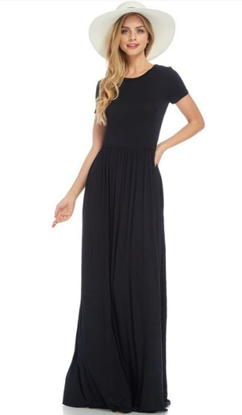 Solid Black Short Sleeved Essential Maxi Dress