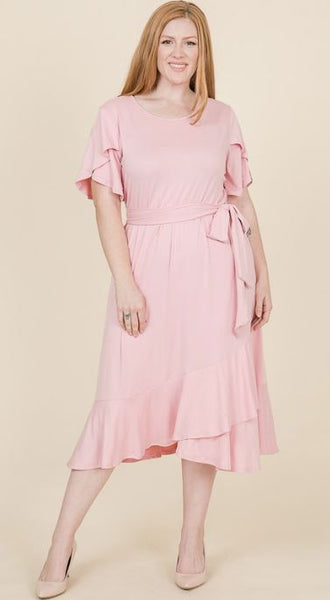 Rose Pink Tulip Sleeve Ruffle Hem Dress