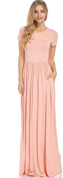 Blush Pink Short Sleeved Essential Maxi Dress