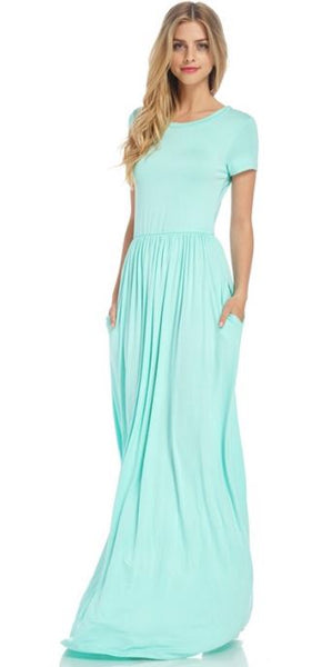Mint Short Sleeved Essential Maxi Dress