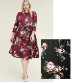 Front Tie 3/4 Sleeve Floral Midi Dress