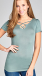 Dusty Sage Criss Cross Tee
