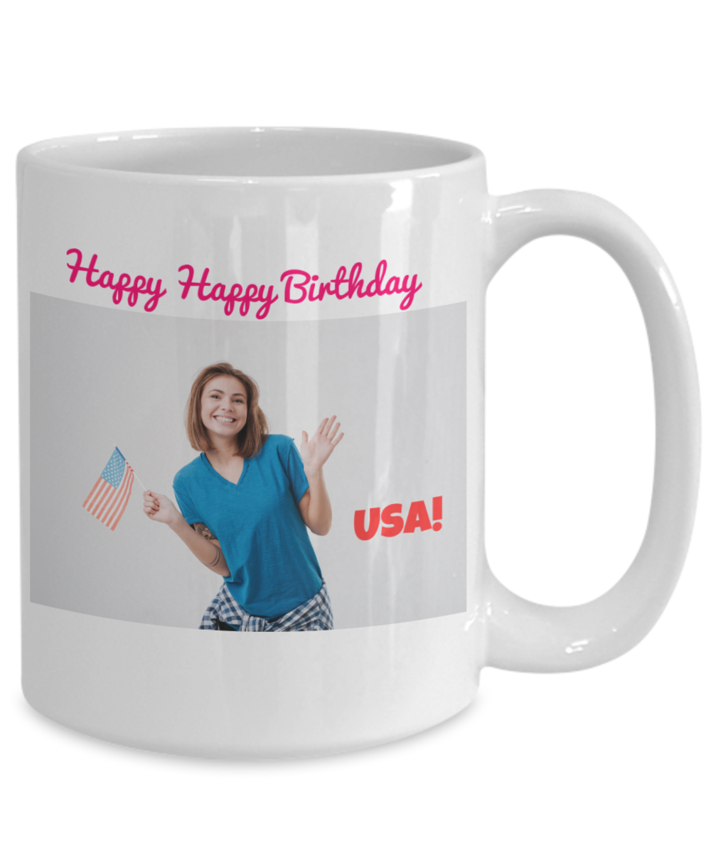 Happy Happy Birthday USA - Girl with Small Flag