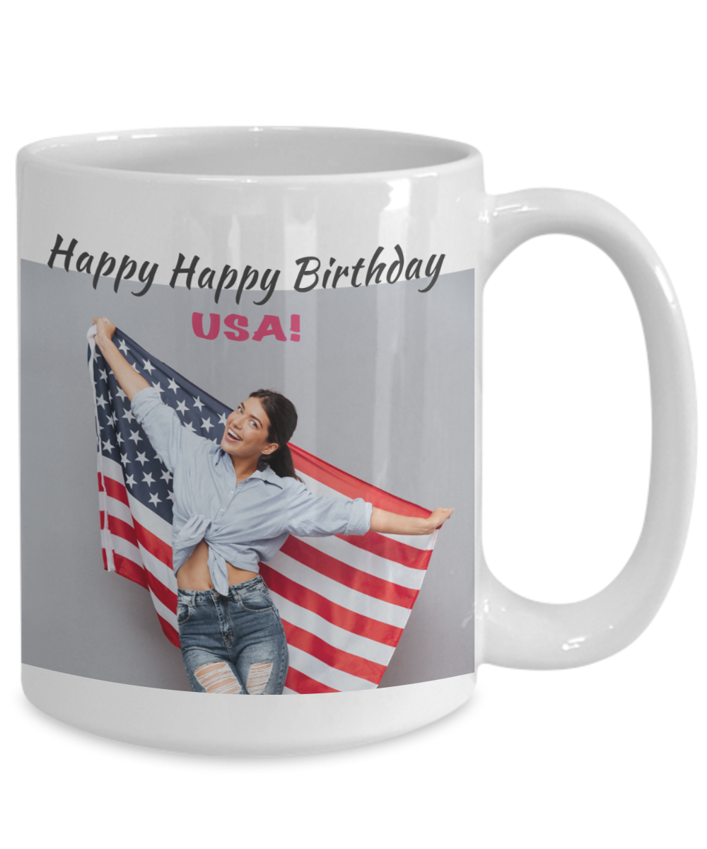 Girl with Flag - Happy Birthday USA